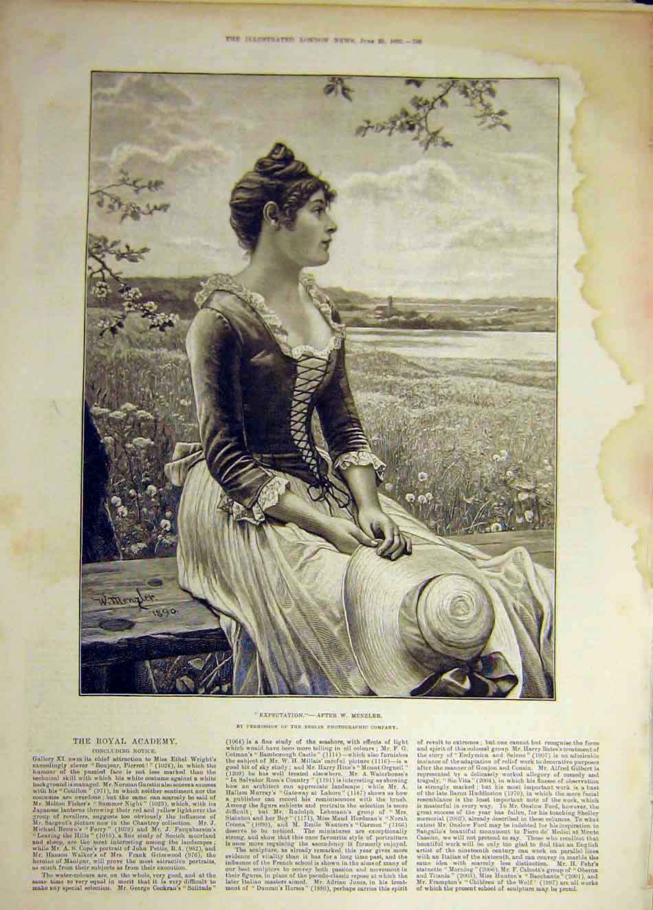 Print 1892 Expectation Menzler Portrait Lady Field Bench 107941 Old Original