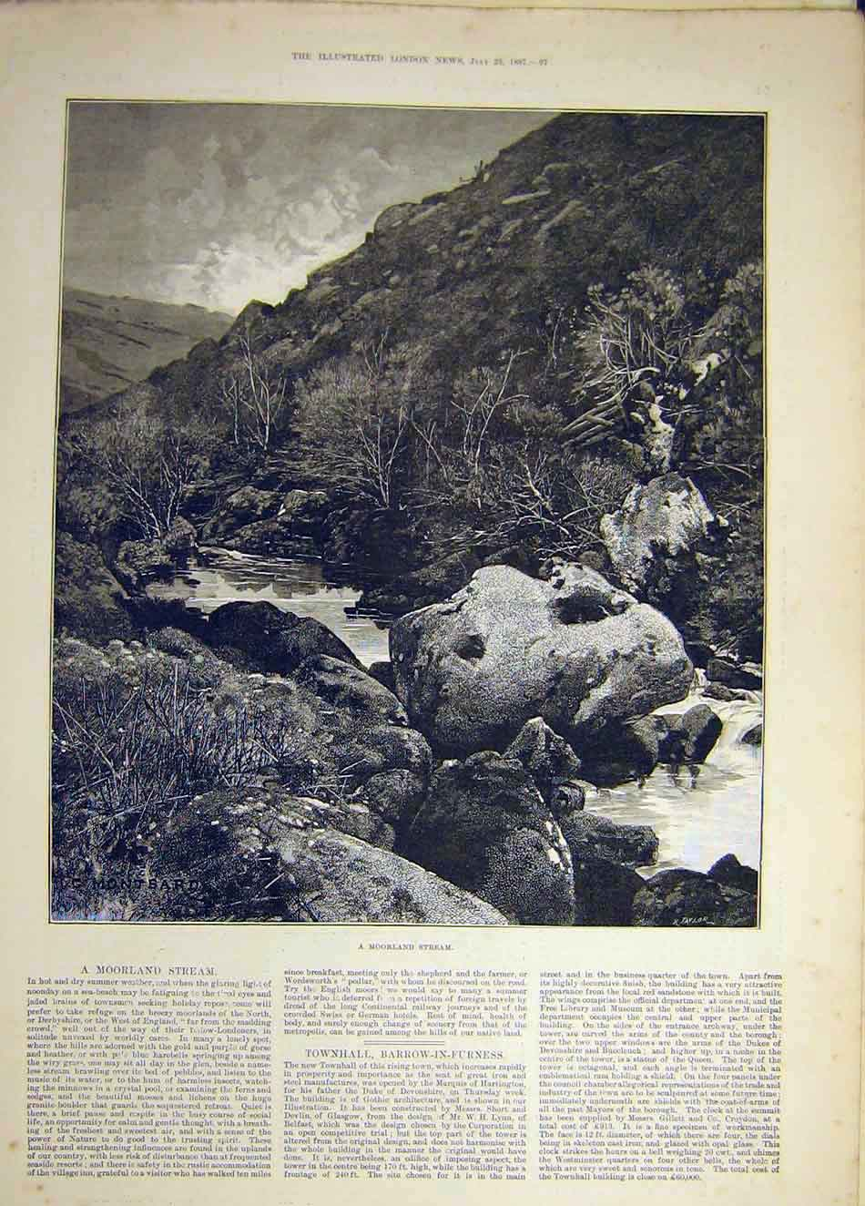 Print 1887 Moorland Stream Sketch Picture Landscape Water 147941 Old Original