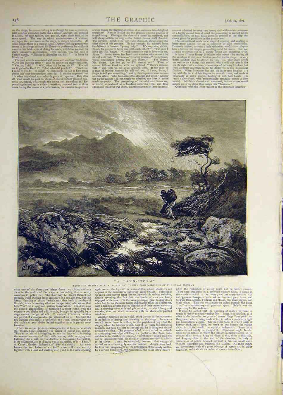 Print 1874 Land-Storm Waterlow Royal Academy Fine Art 157941 Old Original