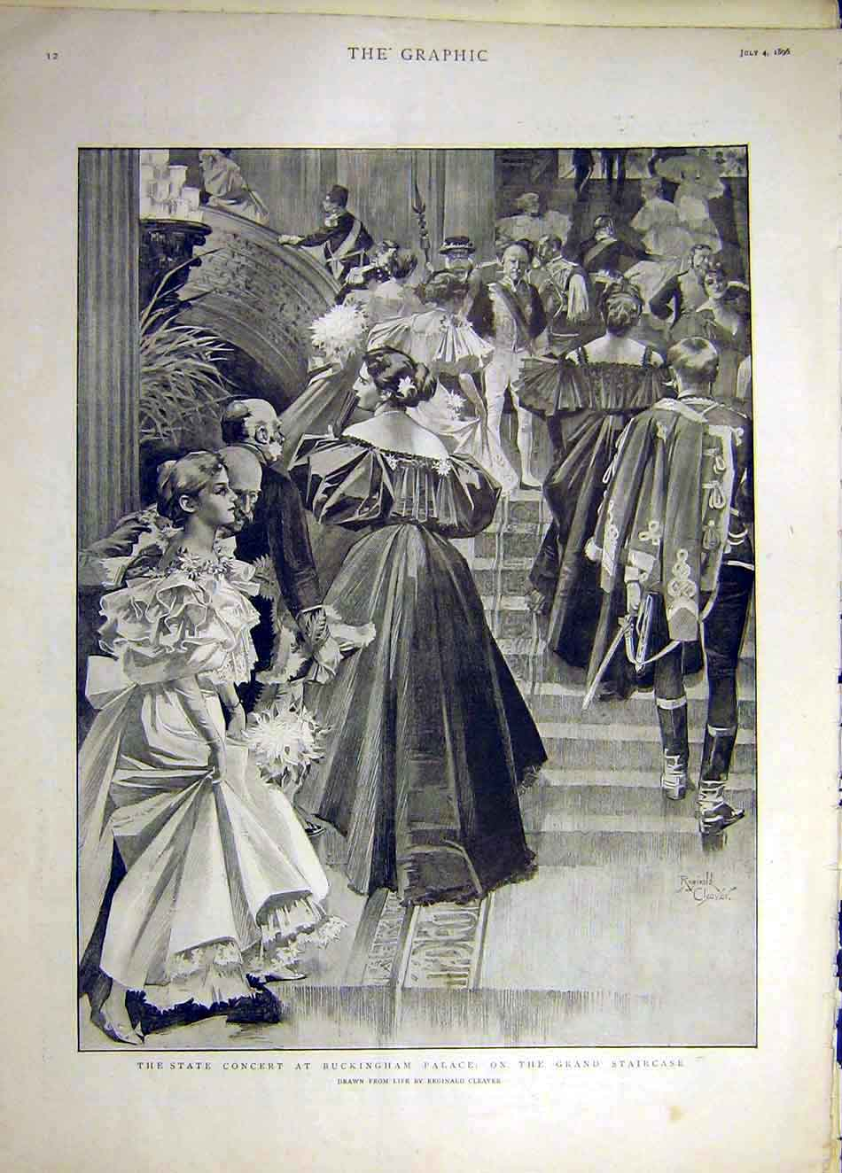 Print 1896 State Concert Buckingham Palace Staircase 177941 Old Original