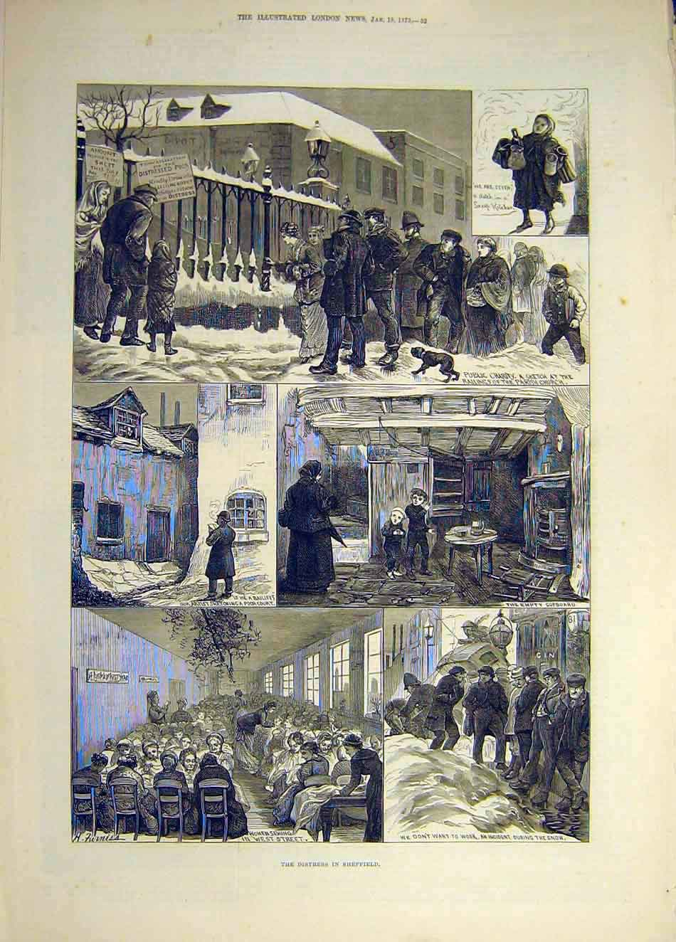 Print 1879 Sheffield Distress Charity Poor People Bailiff 227941 Old Original
