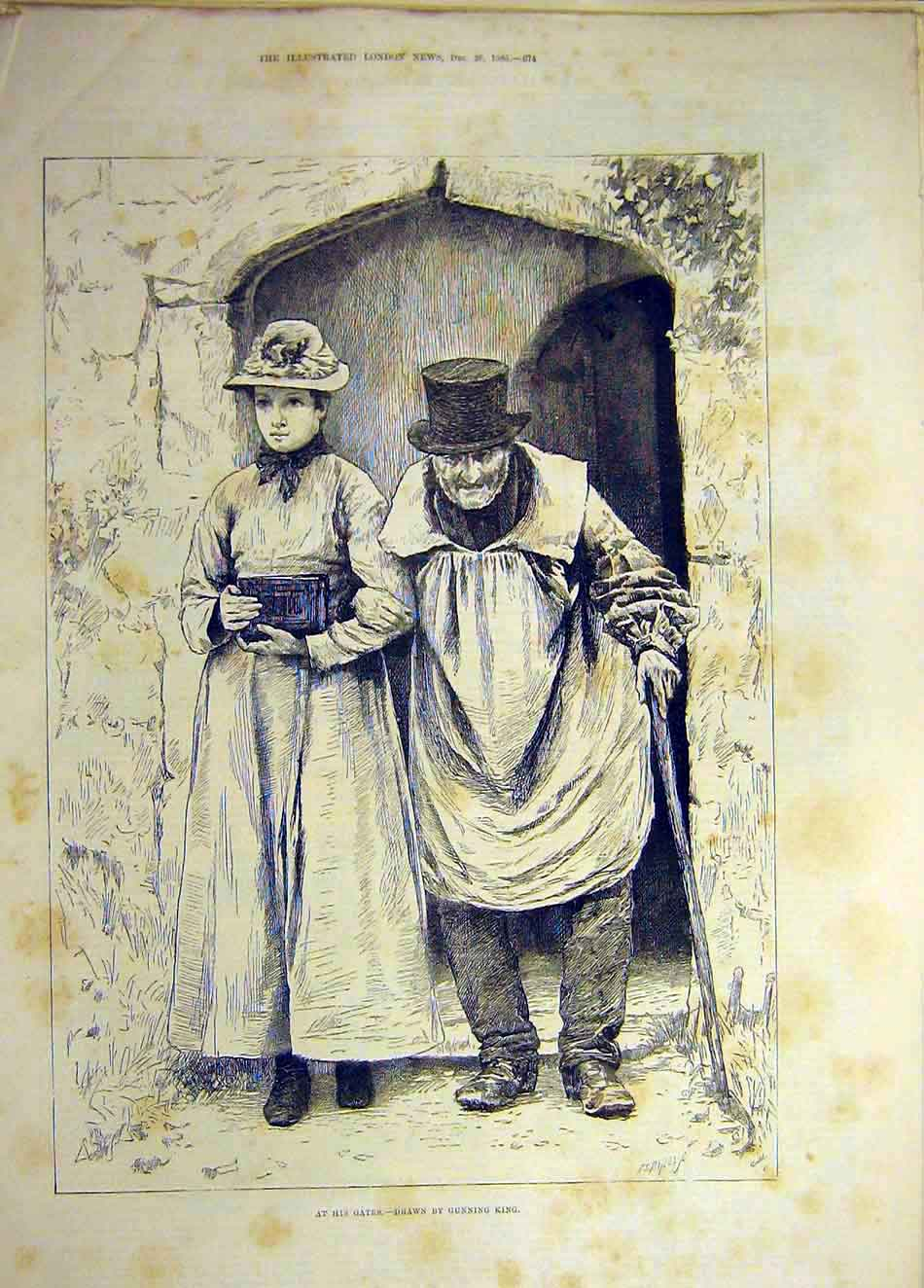 Print 1885 Gunning-King Sketch Gates Old-Man Girl Lady 327941 Old Original