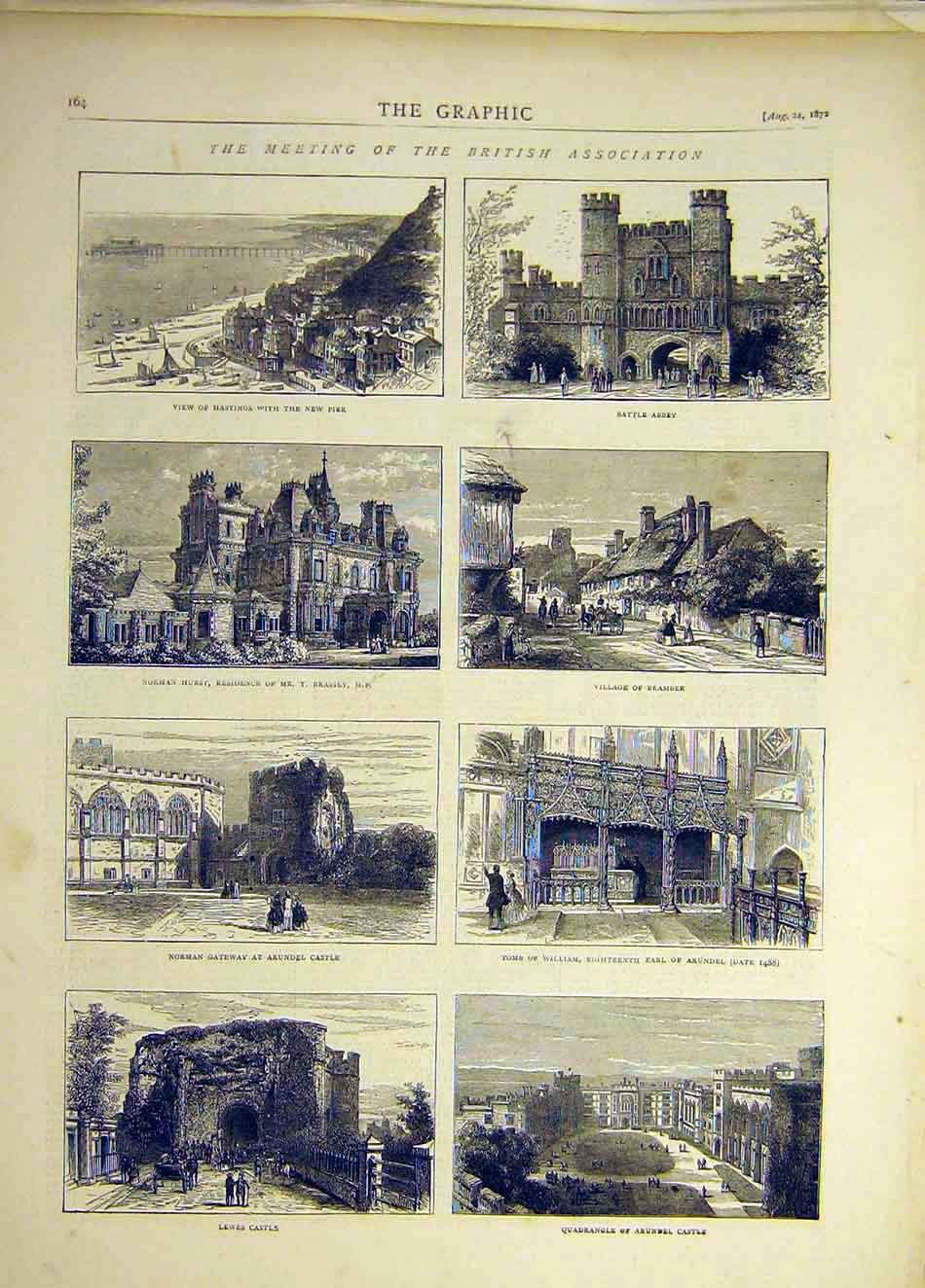Print 1872 Lewes Castle Hastings Battle Abbey Bramber Arundel 377941 Old Original