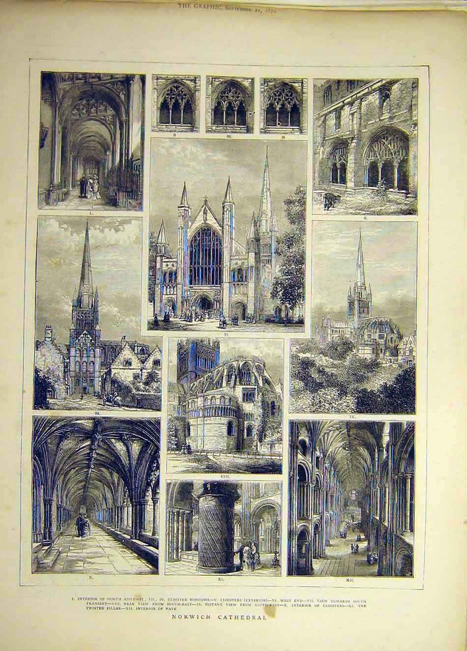 Print 1872 Norwich Cathedral Nve Building Cloisters 387941 Old Original