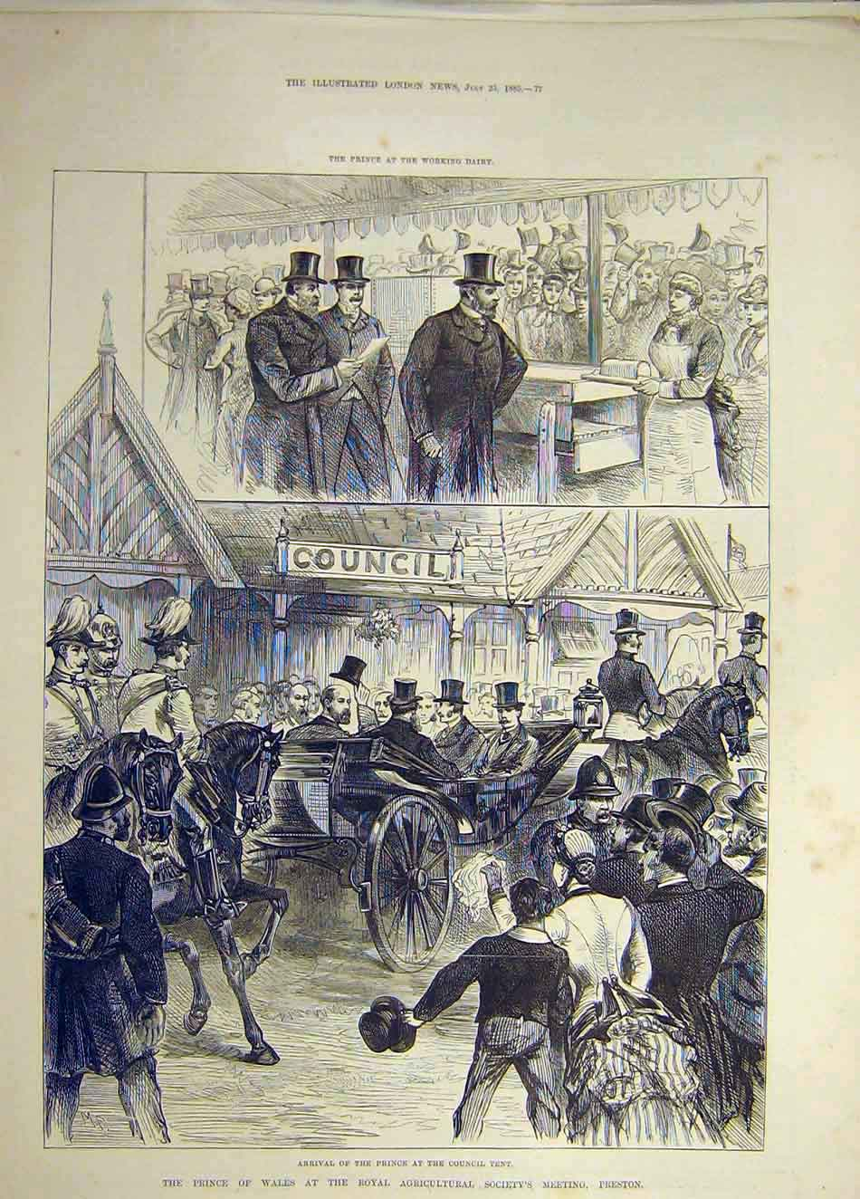 Print 1885 Prince Wales Preston Royal Agricultural Dairy Show 427941 Old Original