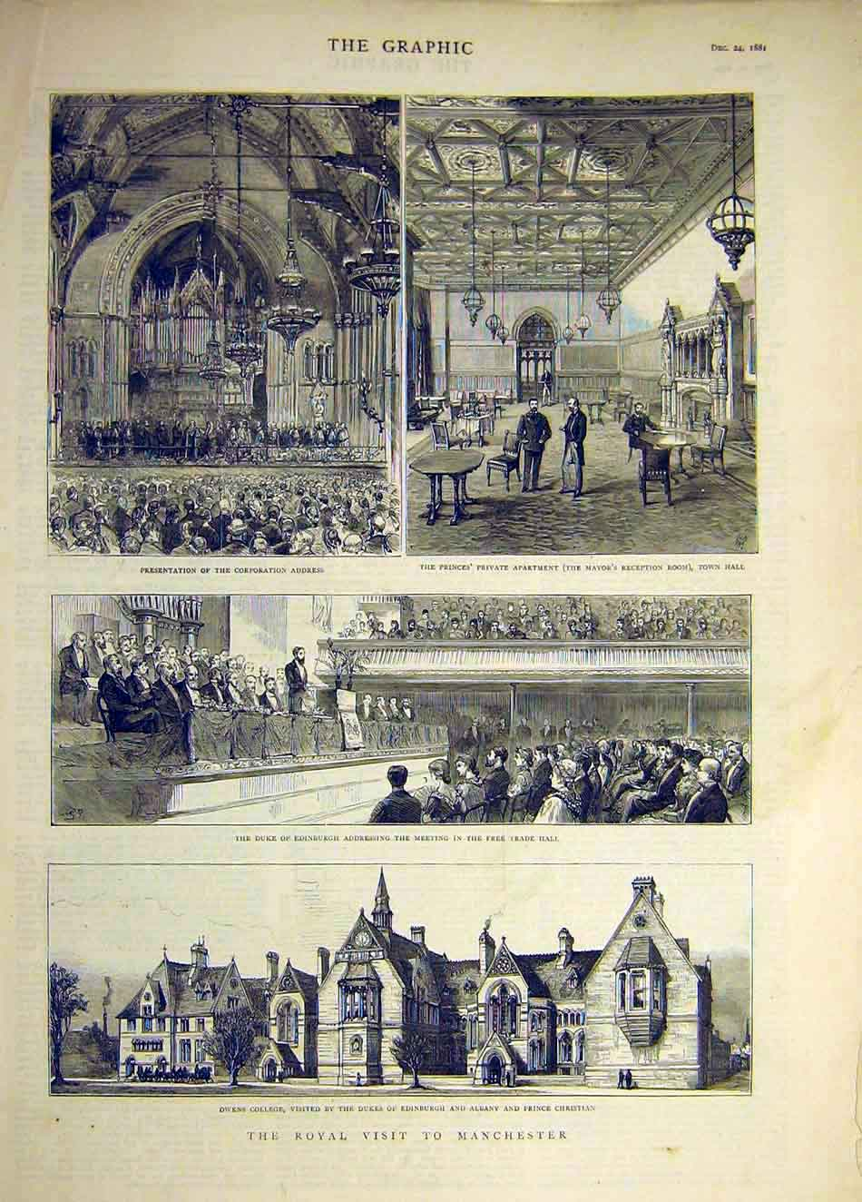 Print 1881 Royal Visit Manchester Owen'S College Mayor 437941 Old Original