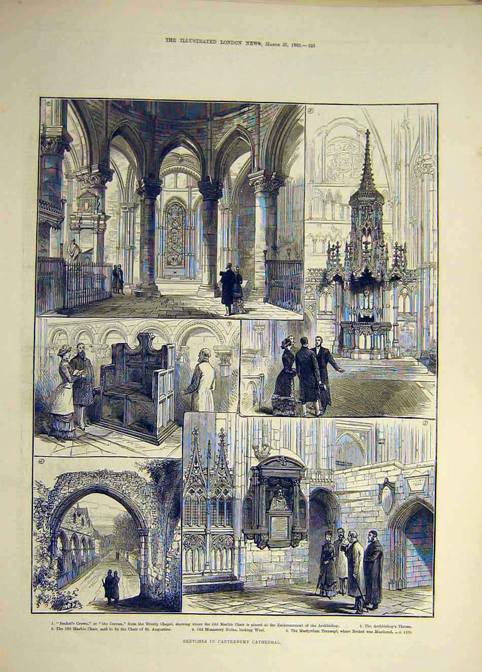 Print 1883 Canterbury Cathedral Sketches Transept Ruins 457941 Old Original