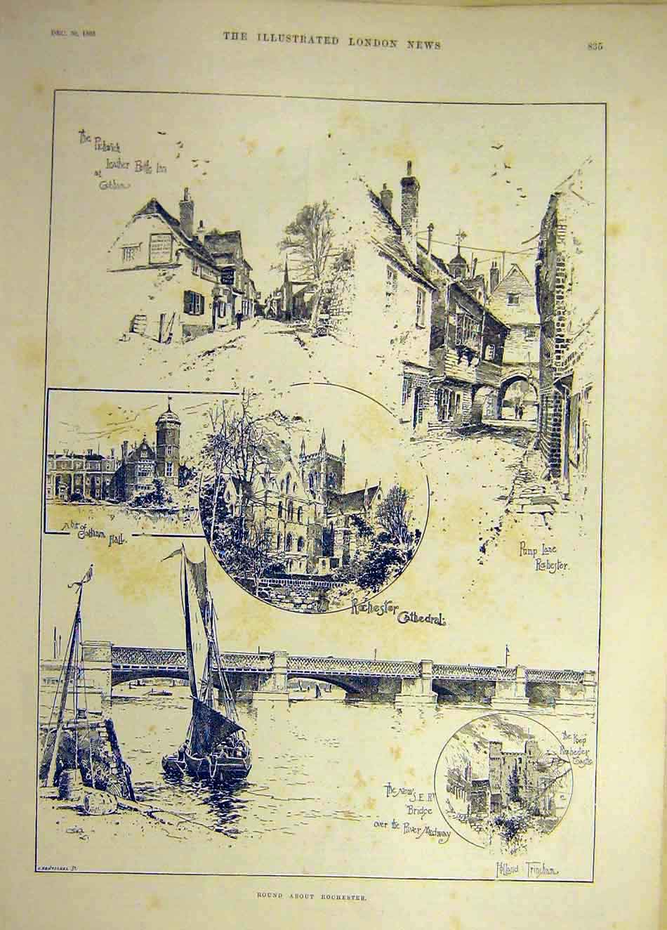 Print 1893 Rochester Sketches Pickwick Inn Cobham Cathedral 487941 Old Original