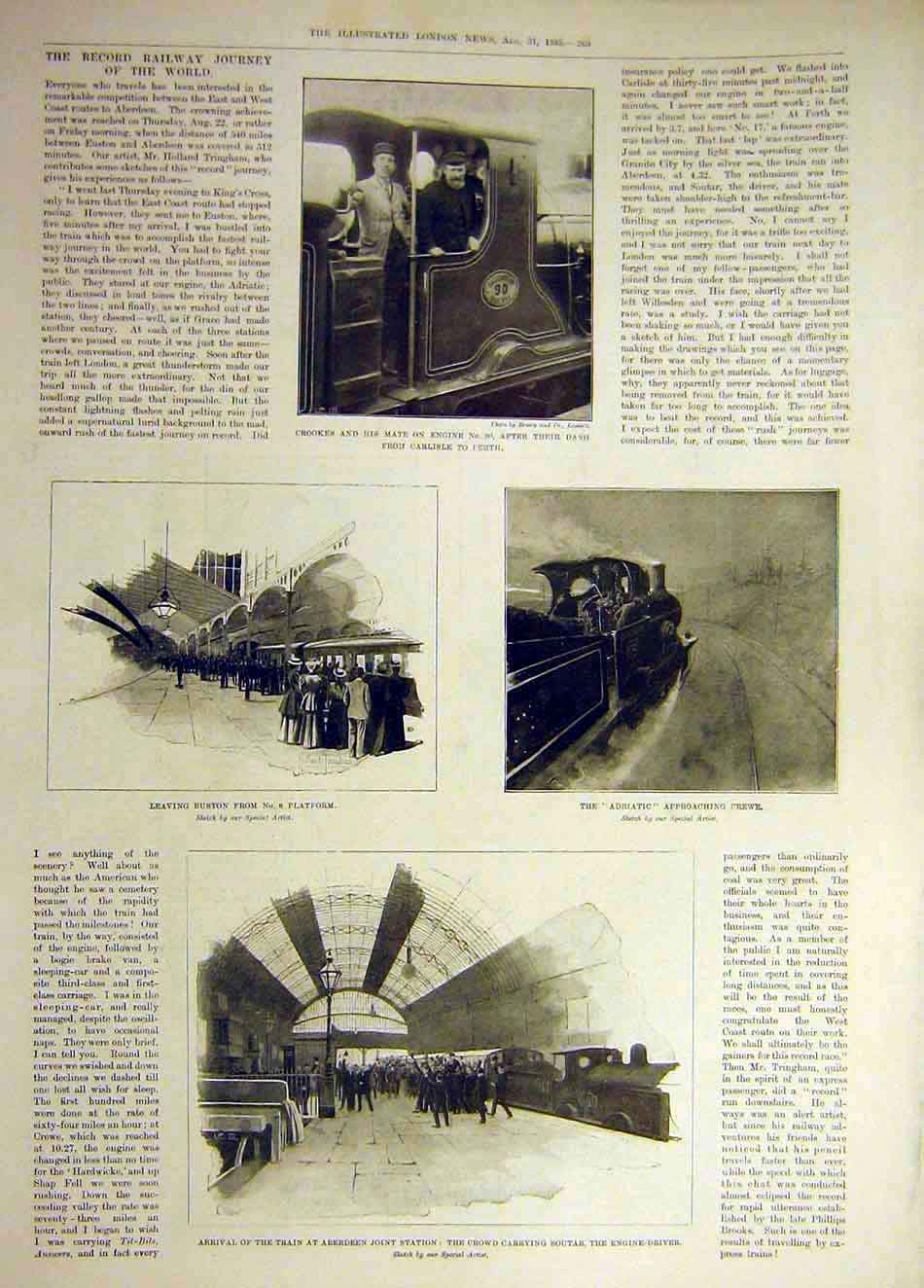 Print 1895 Crookes Engine Railway Adriatic Train Soutar Race 567941 Old Original