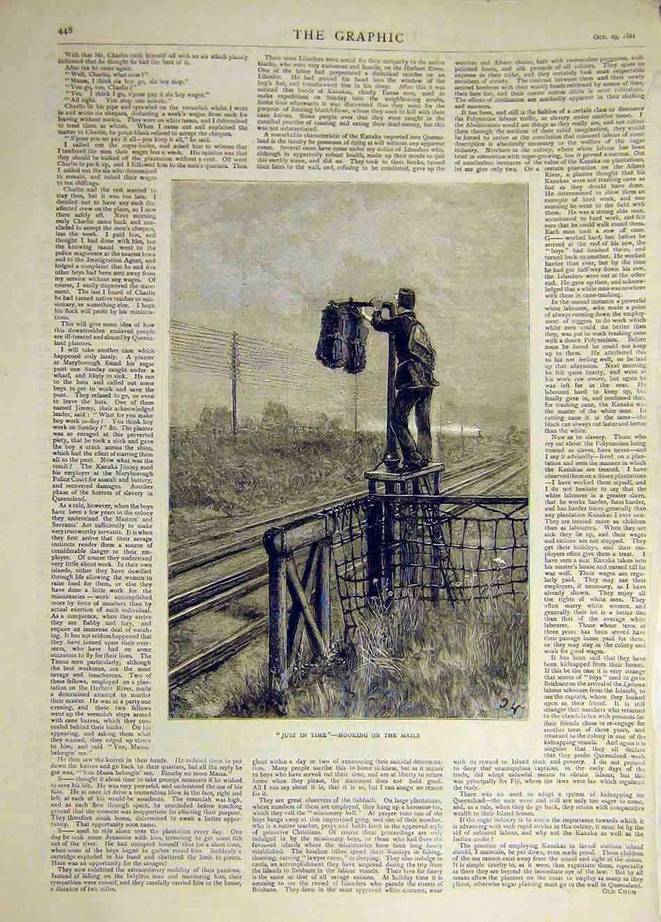 Print 1881 Just-In-Time Hooking Mail Post Railway Track 577941 Old Original