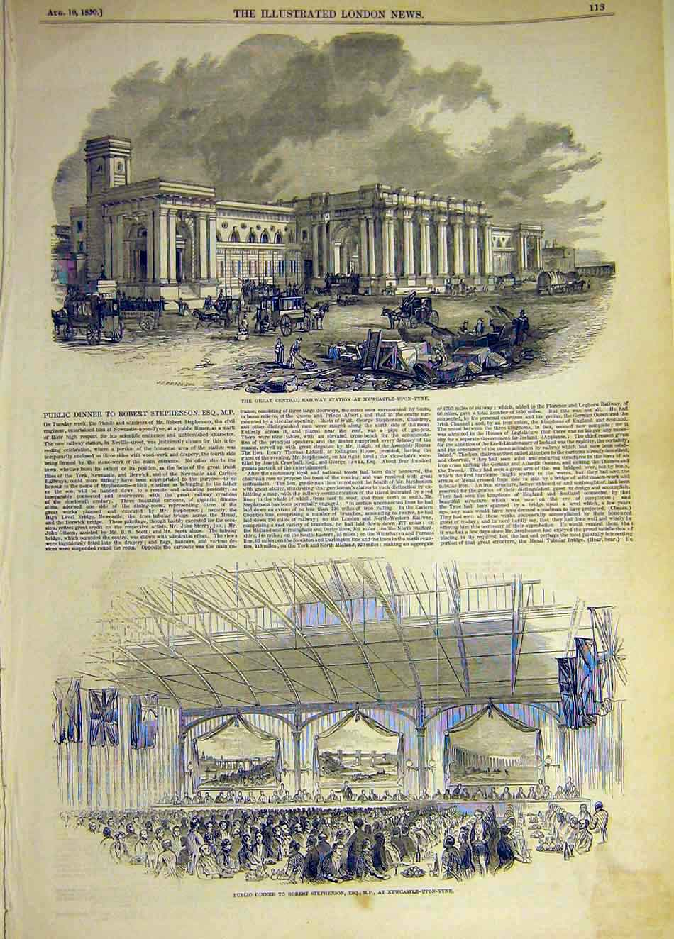 Print 1850 Newcastle-On-Tyne Railway Station Stephenson 647941 Old Original