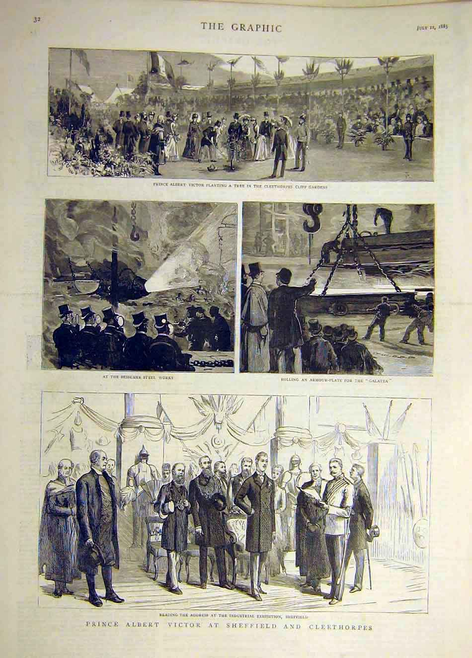Print 1885 Prince Albert Victor Sheffield Cleethorpes 677941 Old Original