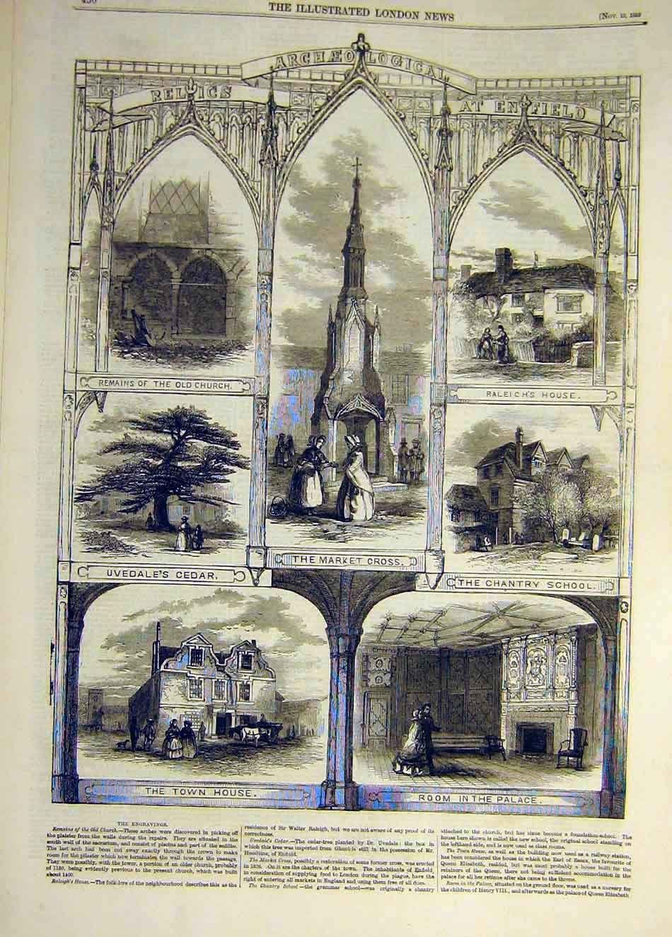 Print 1858 Enfield Relics Uvedale School Raleich Market-Cross 697941 Old Original