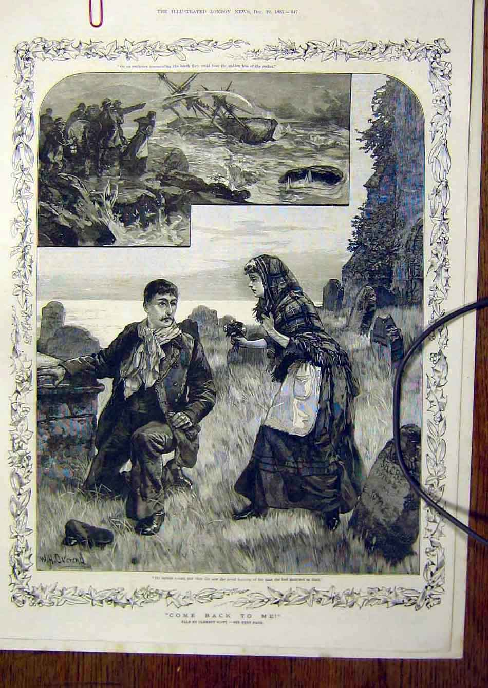 Print 1885 Tale Scott Come-Back-To Me Lady Man Ship Wreck 007941 Old Original