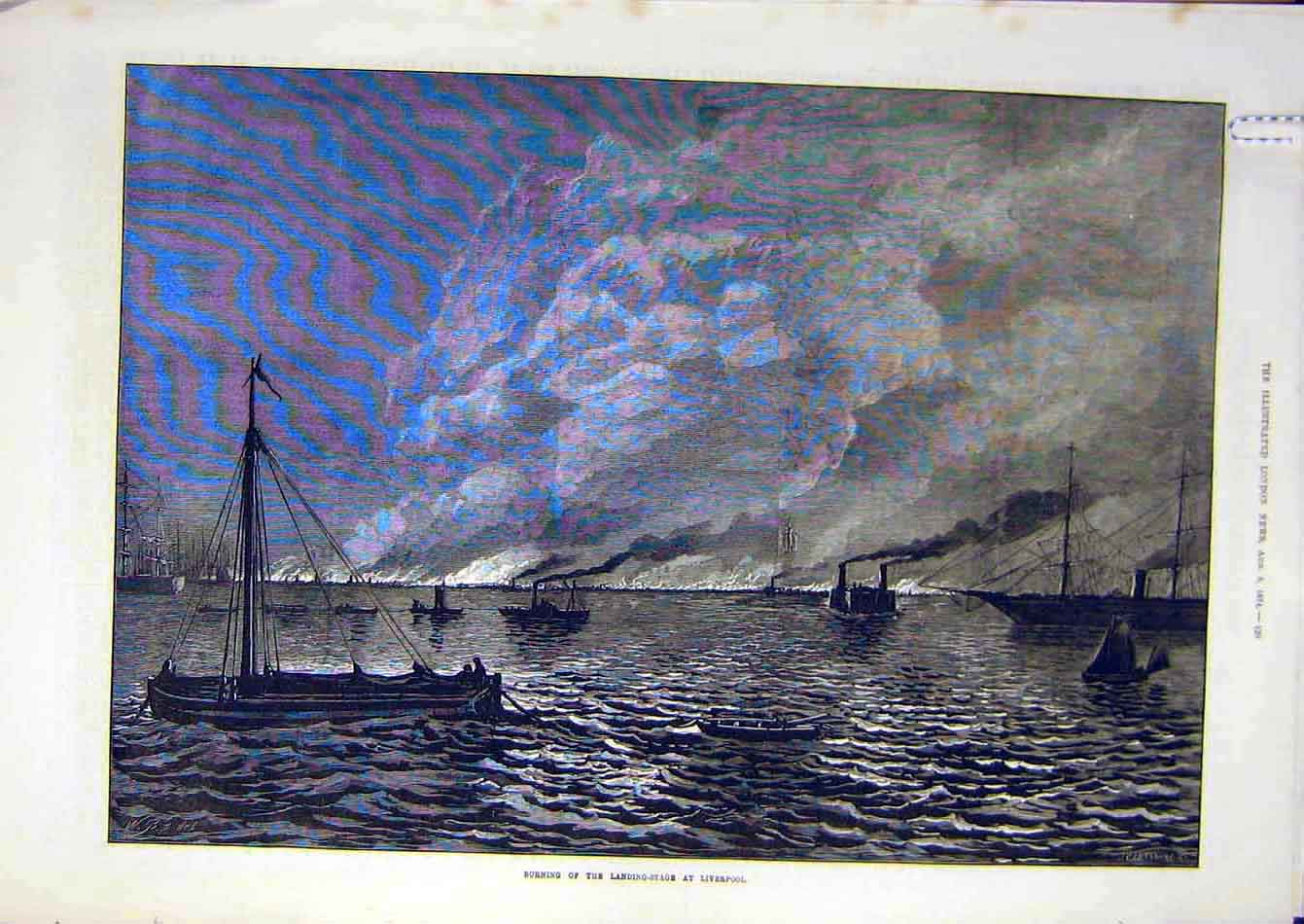 Print 1874 Fire Landing Stage Liverpool Harbour Dock 02A7951 Old Original