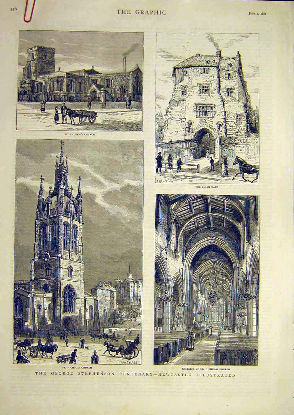 Print 1881 Newcsatle Stephenson St Nicholas Church 07A7951 Old Original