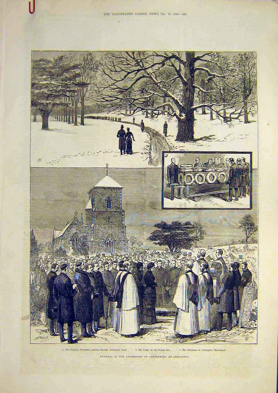 Print 1882 Funeral Archbishop Canterbury Addington Portrait 13A7951 Old Original