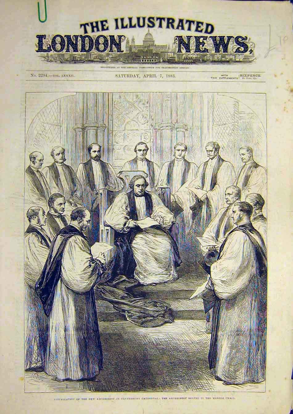 Print 1883 Archbishop Canterbury Cathedral Marble Chair 16A7951 Old Original