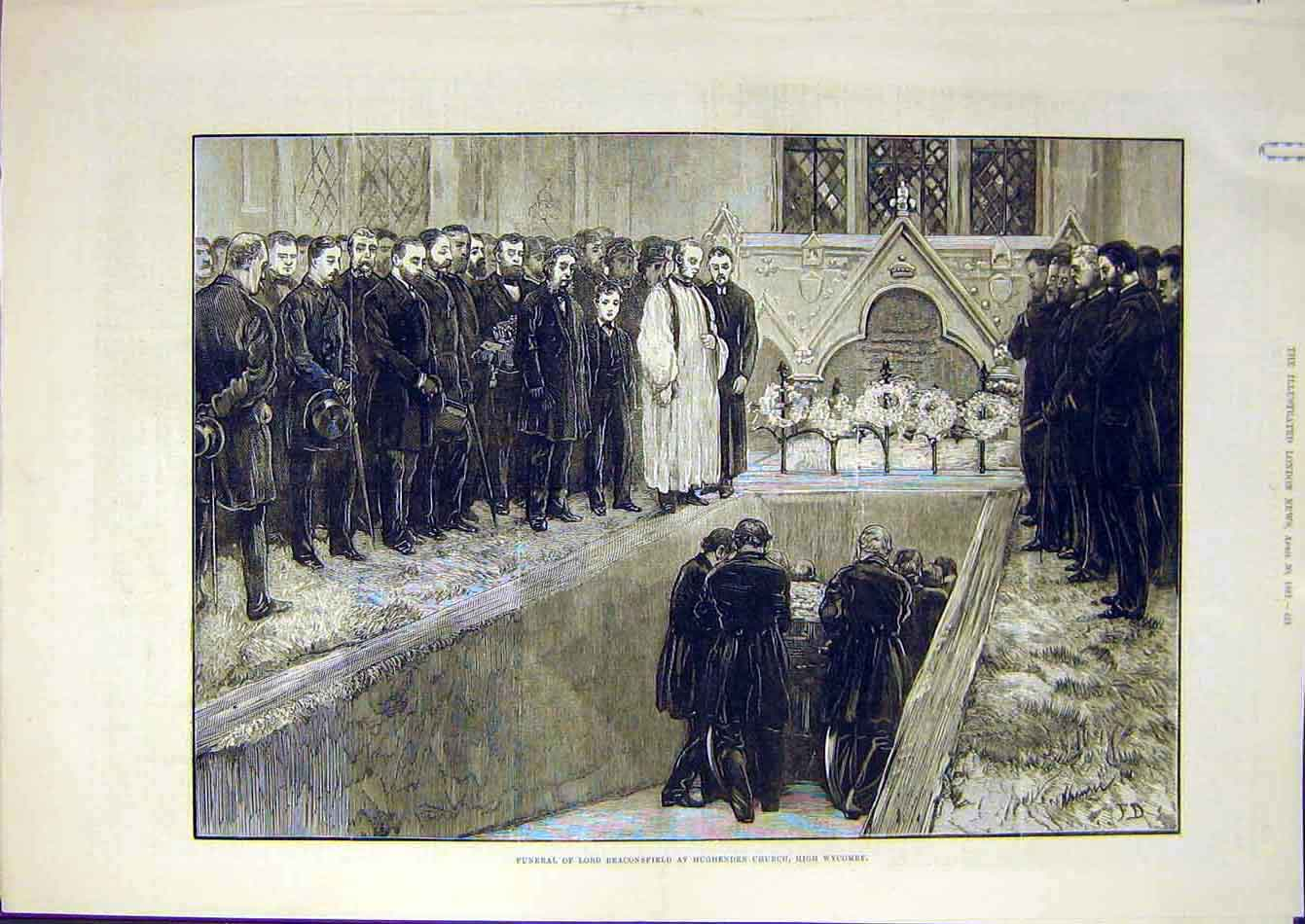 Print 1881 Funeral Beconsfield Hughenden Church Wycombe 23A7951 Old Original