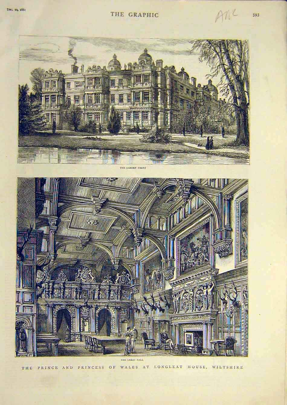 Print 1881 Wiltshire Longleat House Prince Princess Wales 28A7951 Old Original
