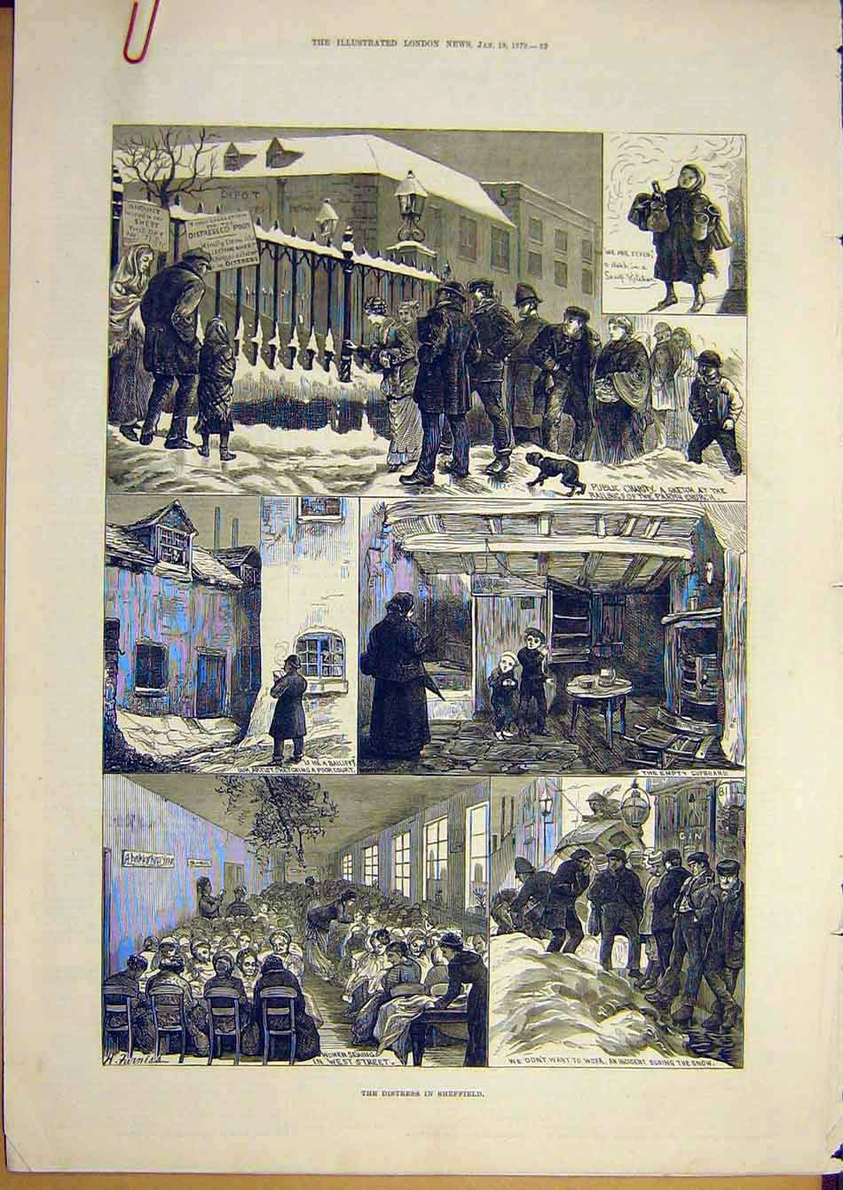 Print 1879 Distress Sheffield Strike Relief Unemployed People 32A7951 Old Original
