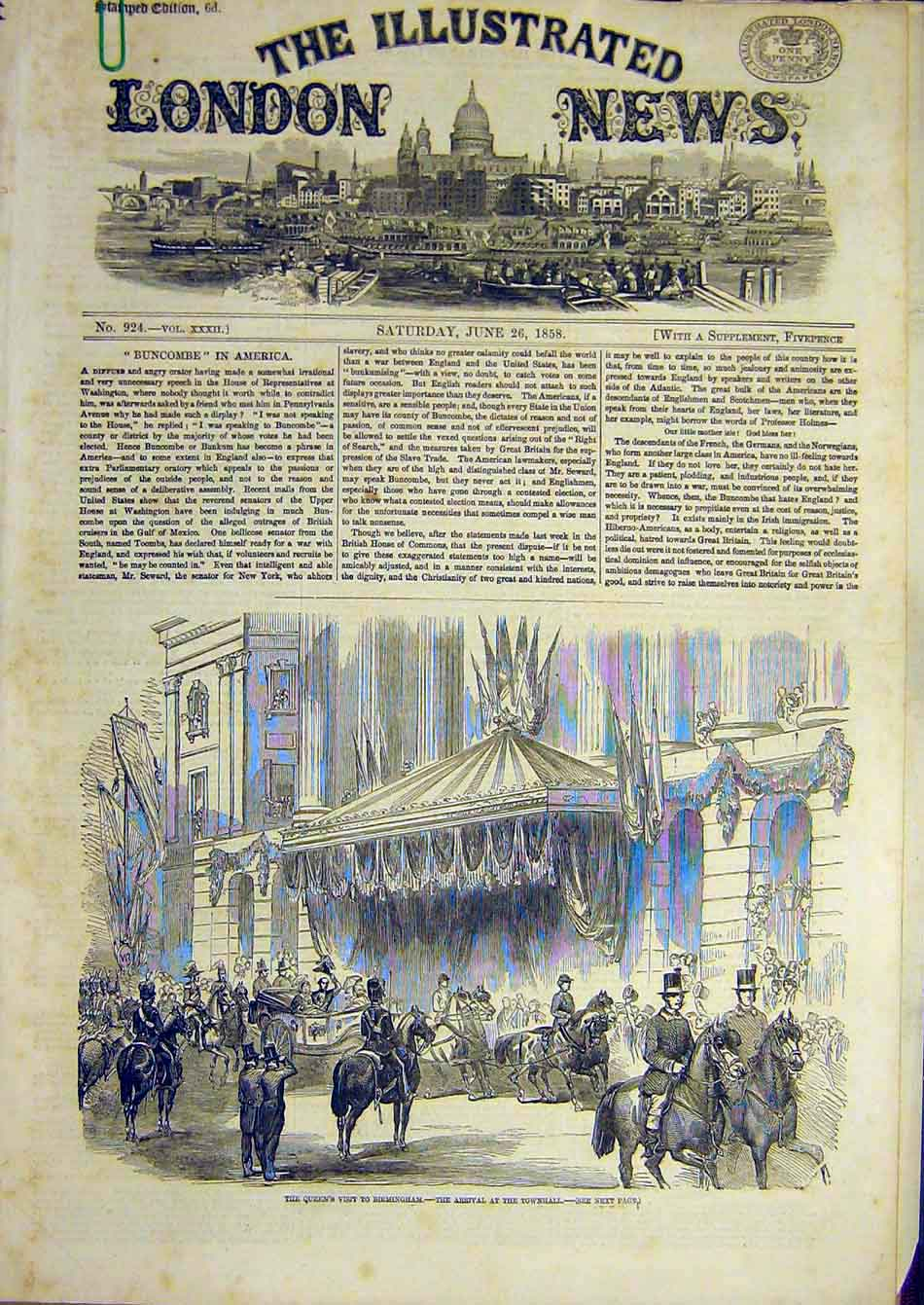 Print 1858 Birmingham Queen Royal Visit Townhall Warwick 37A7951 Old Original