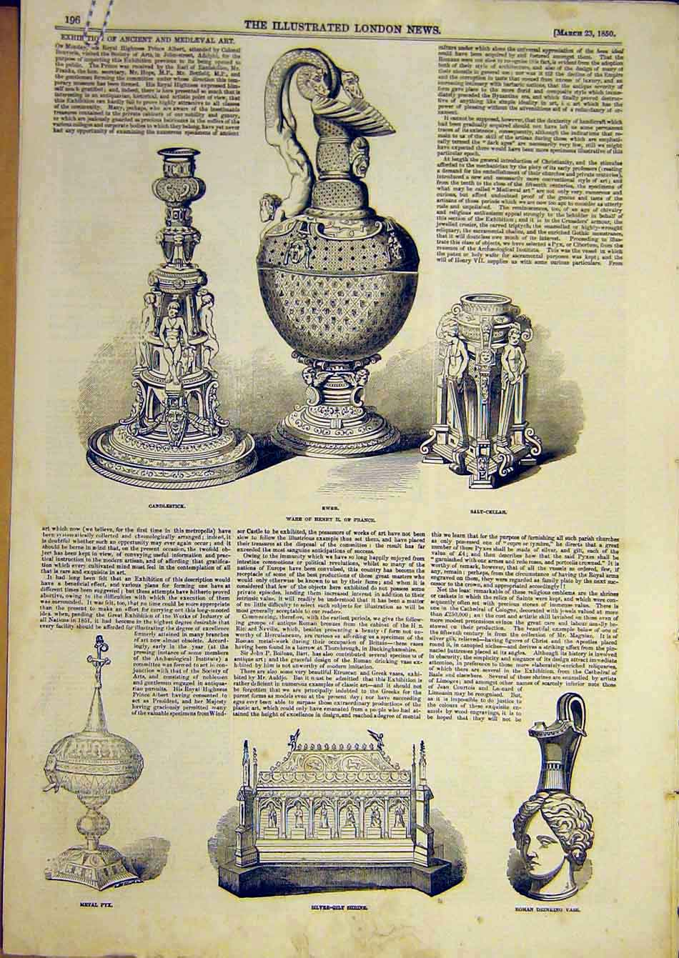 Print 1850 Ancient Mediaeval Art Ewer Shrine Vase Tankard Cup 39A7951 Old Original