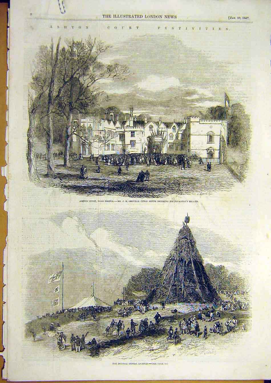 Print 1857 Ashton Court Bonfire Bristol Festivities Fireworks 44A7951 Old Original