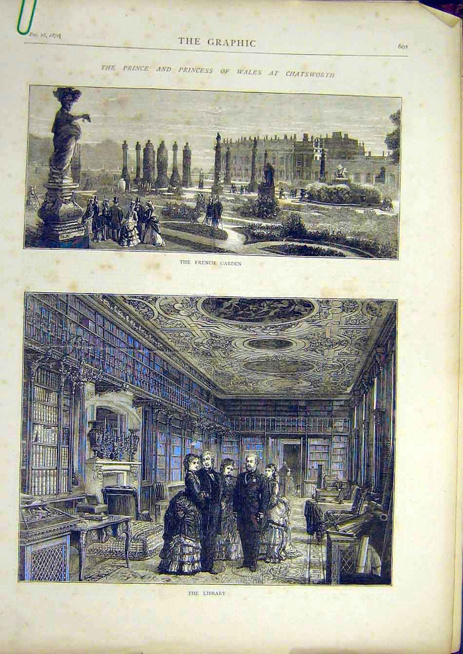 Print 1872 Chatsworth French Garden Prince Wales Library 46A7951 Old Original