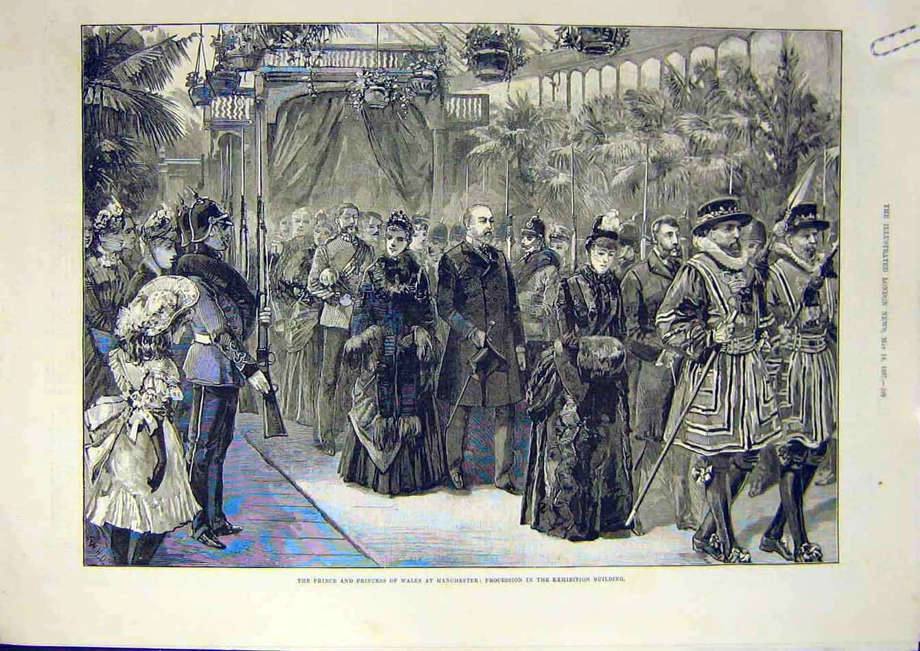 Print 1887 Manchester Exhibition Prince Princess Wales 48A7951 Old Original