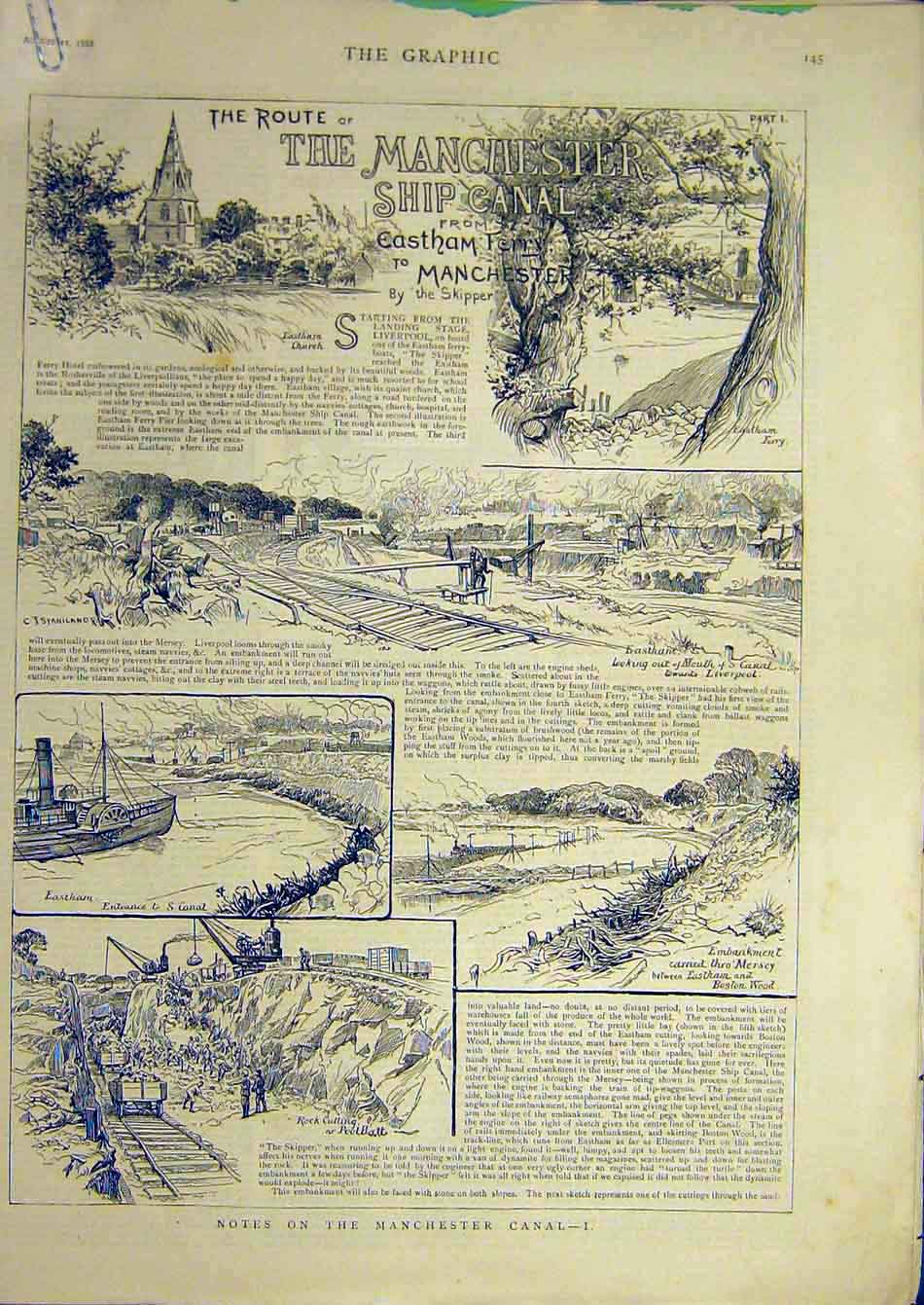 Print 1888 Manchester Ship Canal Eastham Ferry 49A7951 Old Original