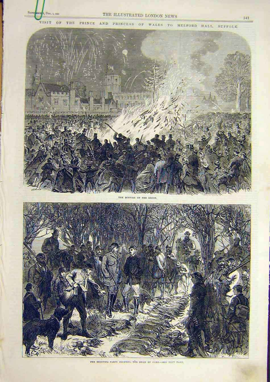 Print 1865 Melford Hall Suffolk Bonfire Prince Wales Princess 51A7951 Old Original