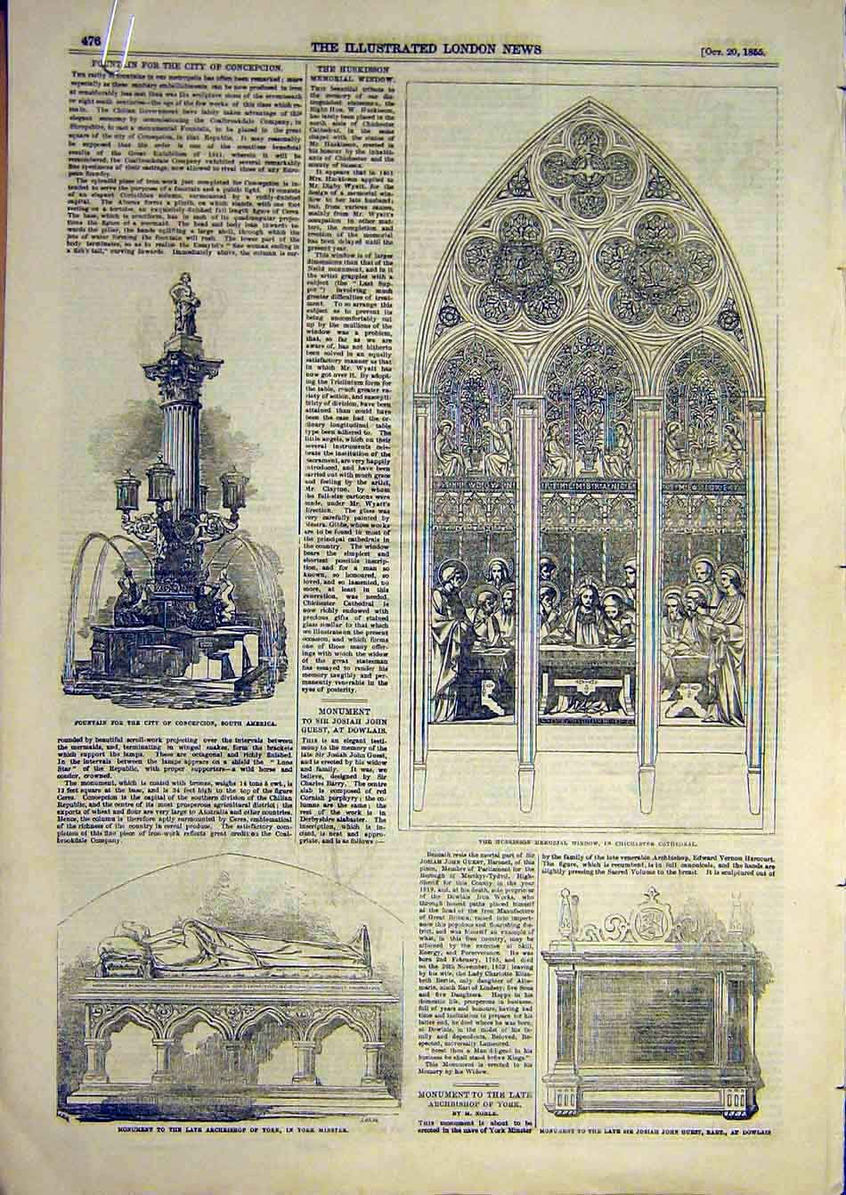 Print 1855 Chichester Cathedral Monument Fountain Testimonial 64A7951 Old Original