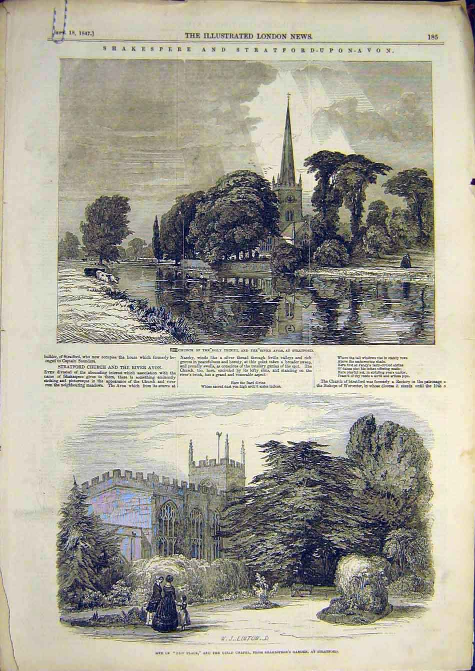 Print 1847 Church Stratford Shakespeare Guild Chapel Church 81A7951 Old Original