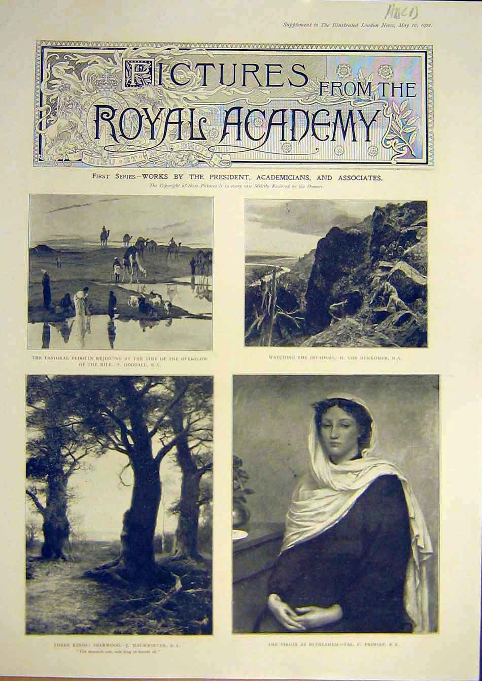 Print 1902 Pictures Royal Academy Fine Art 88A7951 Old Original