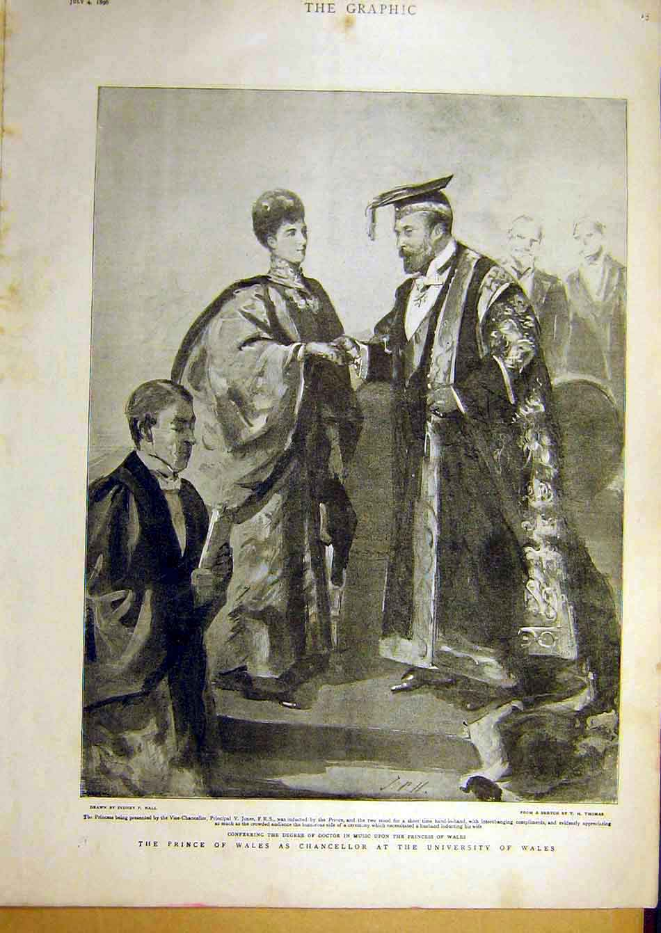 Print 1896 Prince Wales Chancellor University Queen Drawing 90A7951 Old Original