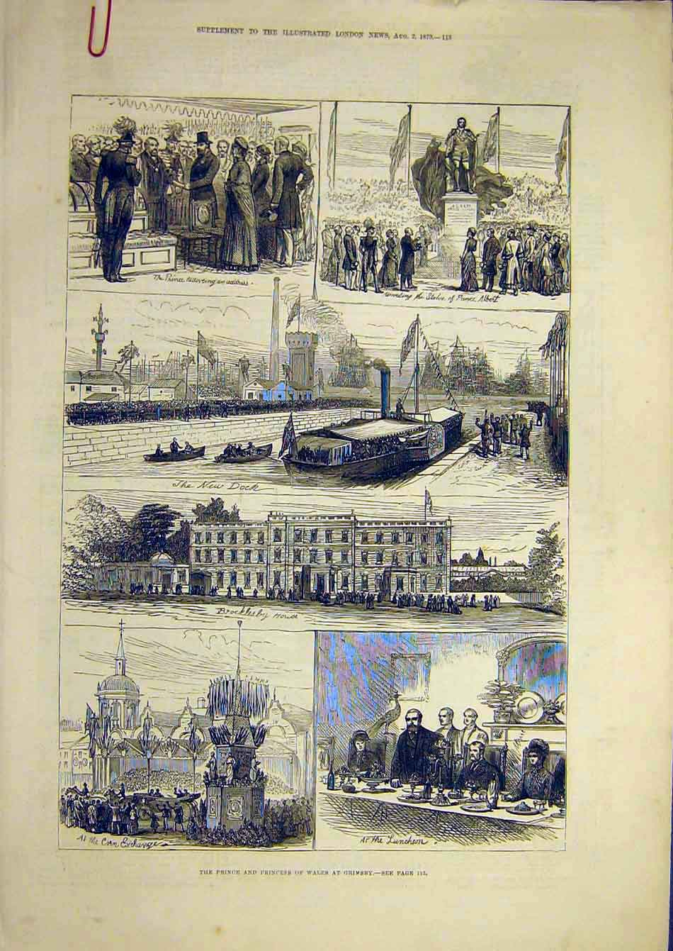 Print 1879 Prince Princess Wales Grimsby Duke Connaught 07A7951 Old Original