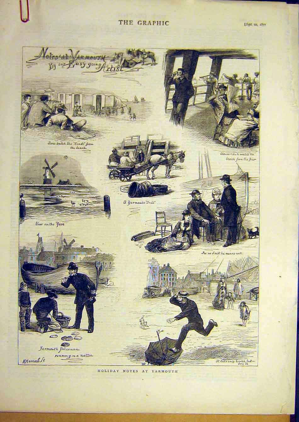 Print 1877 Yarmouth Sketch Holiday Military Artillery Prince 08A7951 Old Original