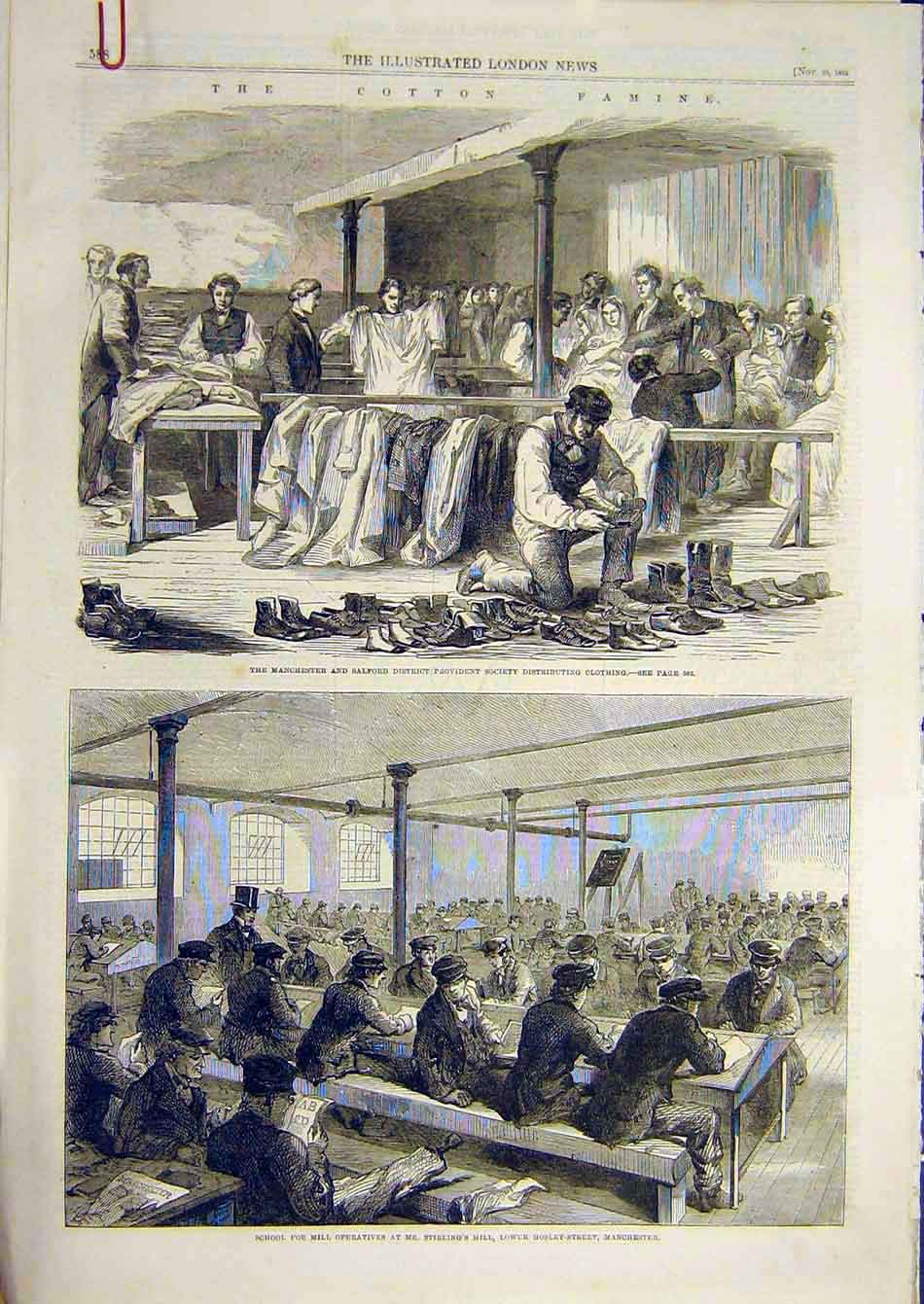 Print 1862 Cotton Famine Manchester Salfor Provident Society 11A7951 Old Original