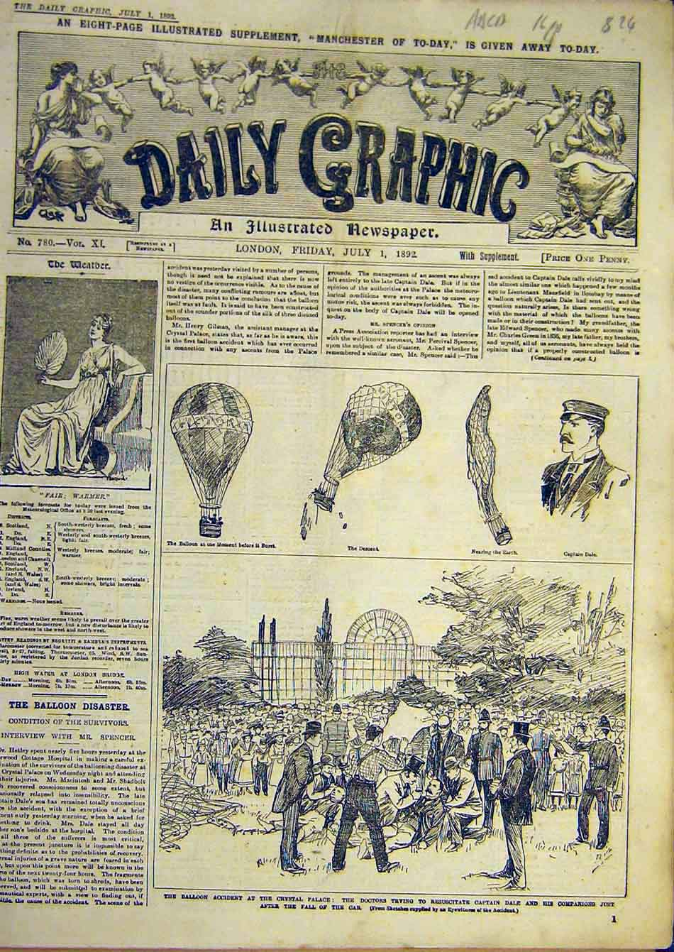 [Print 1892 Balloon Manchester Gladstone General Election 14A7951 Old Original]