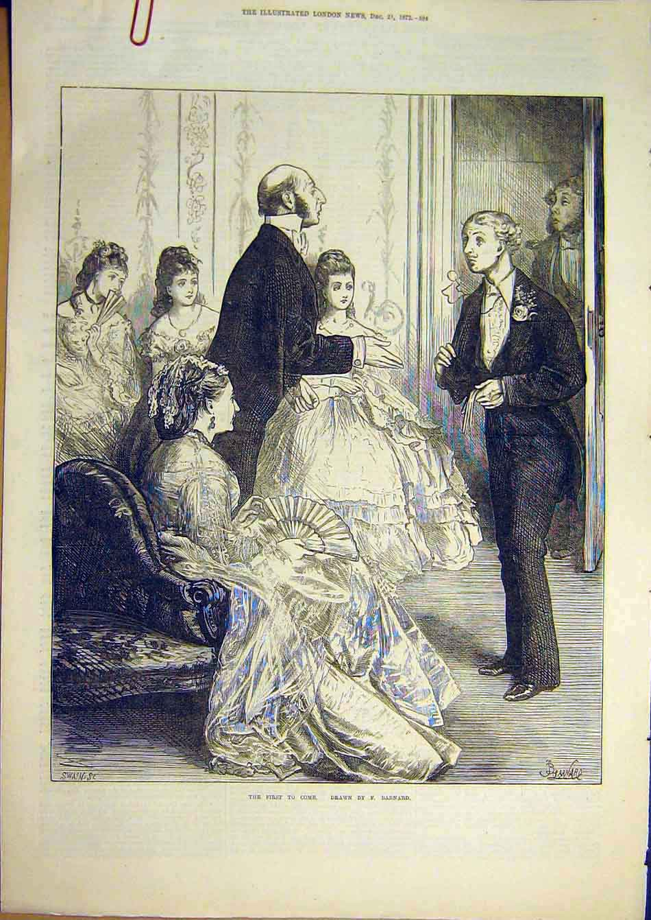 Print 1872 Barnard Suitors First Man Guests Party 23A7951 Old Original