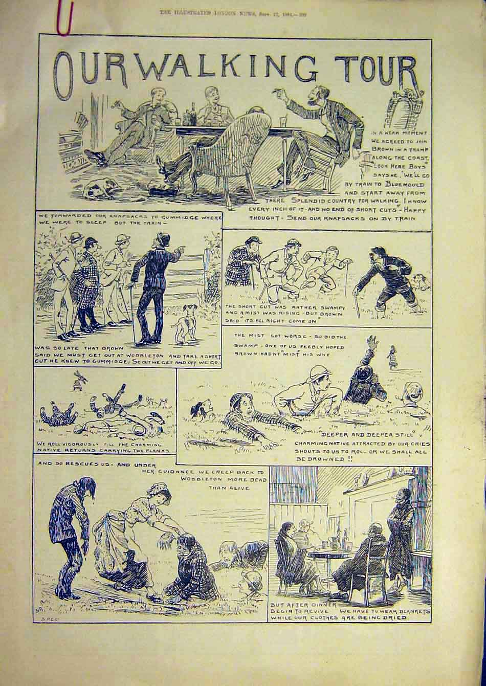 Print 1884 Walking Tour Sketches Morant-Cox Tourist 24A7951 Old Original