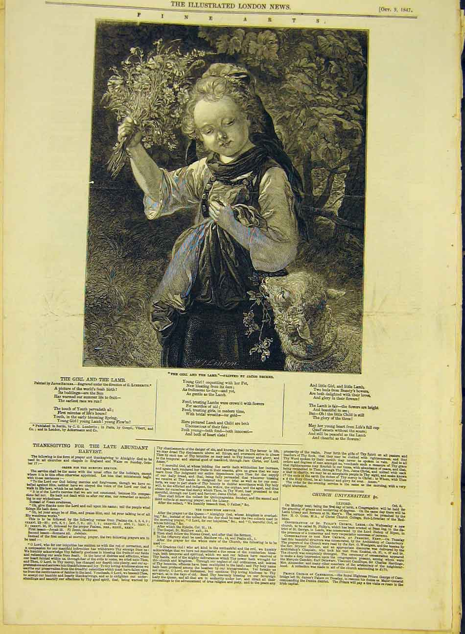 Print 1847 Girl Lamb Becker Fine Art Flowers Child 087991 Old Original
