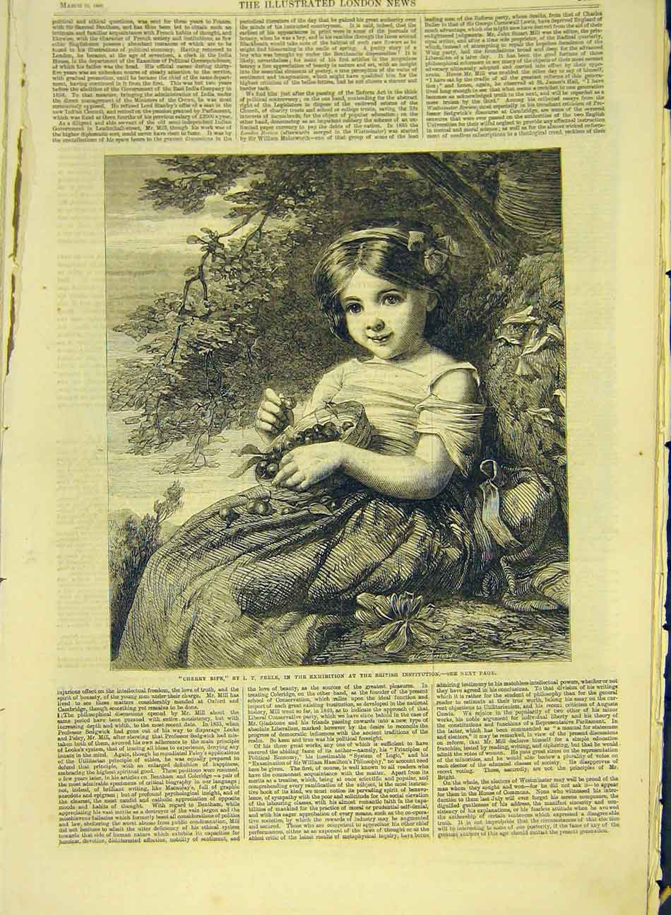 Print 1866 Peele Cherry Ripe Fine Art Child Cherries Basket 297991 Old Original