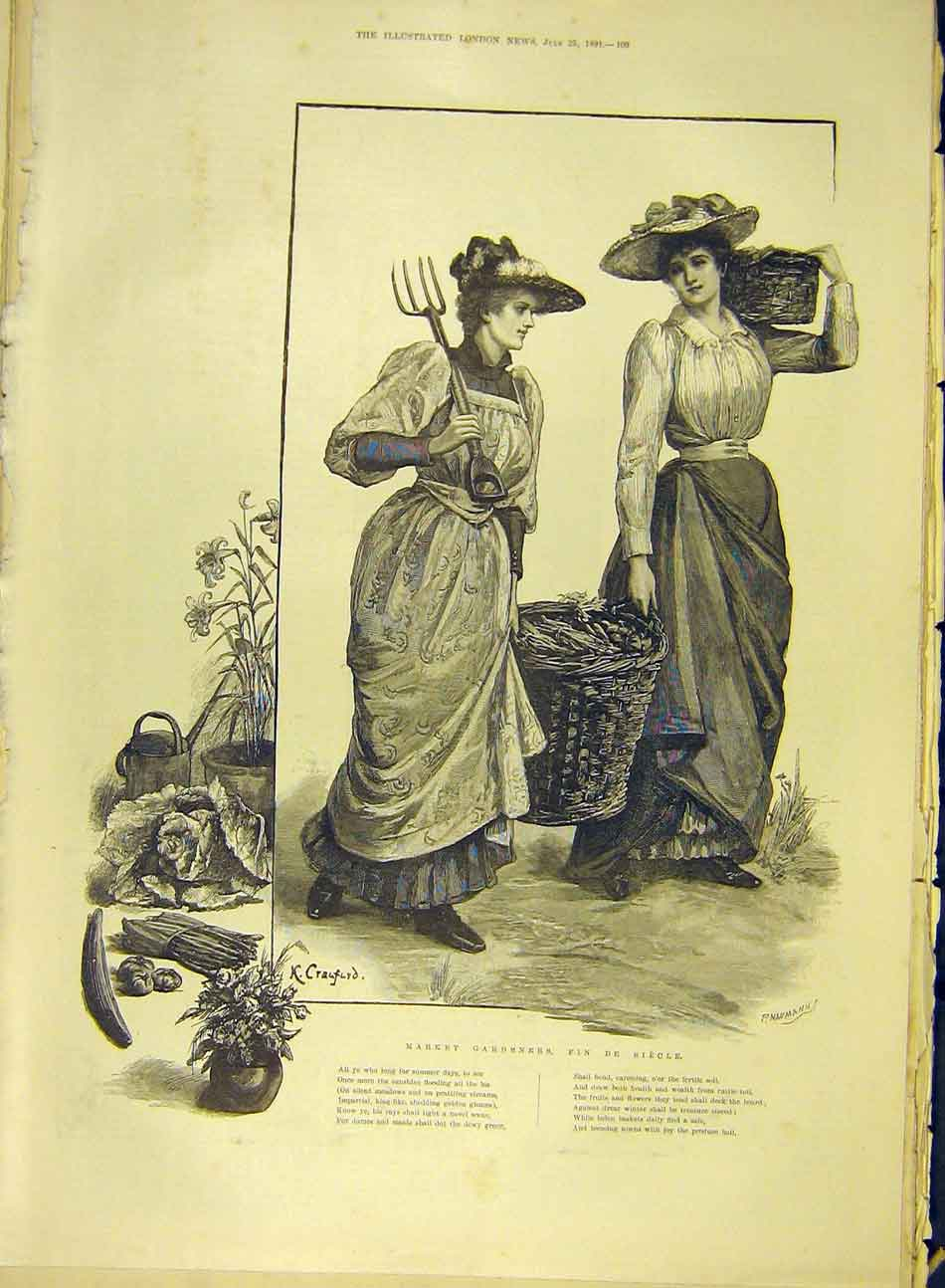 Print 1891 Market Gardeners Fin-De-Siecle Ladies Garden 317991 Old Original