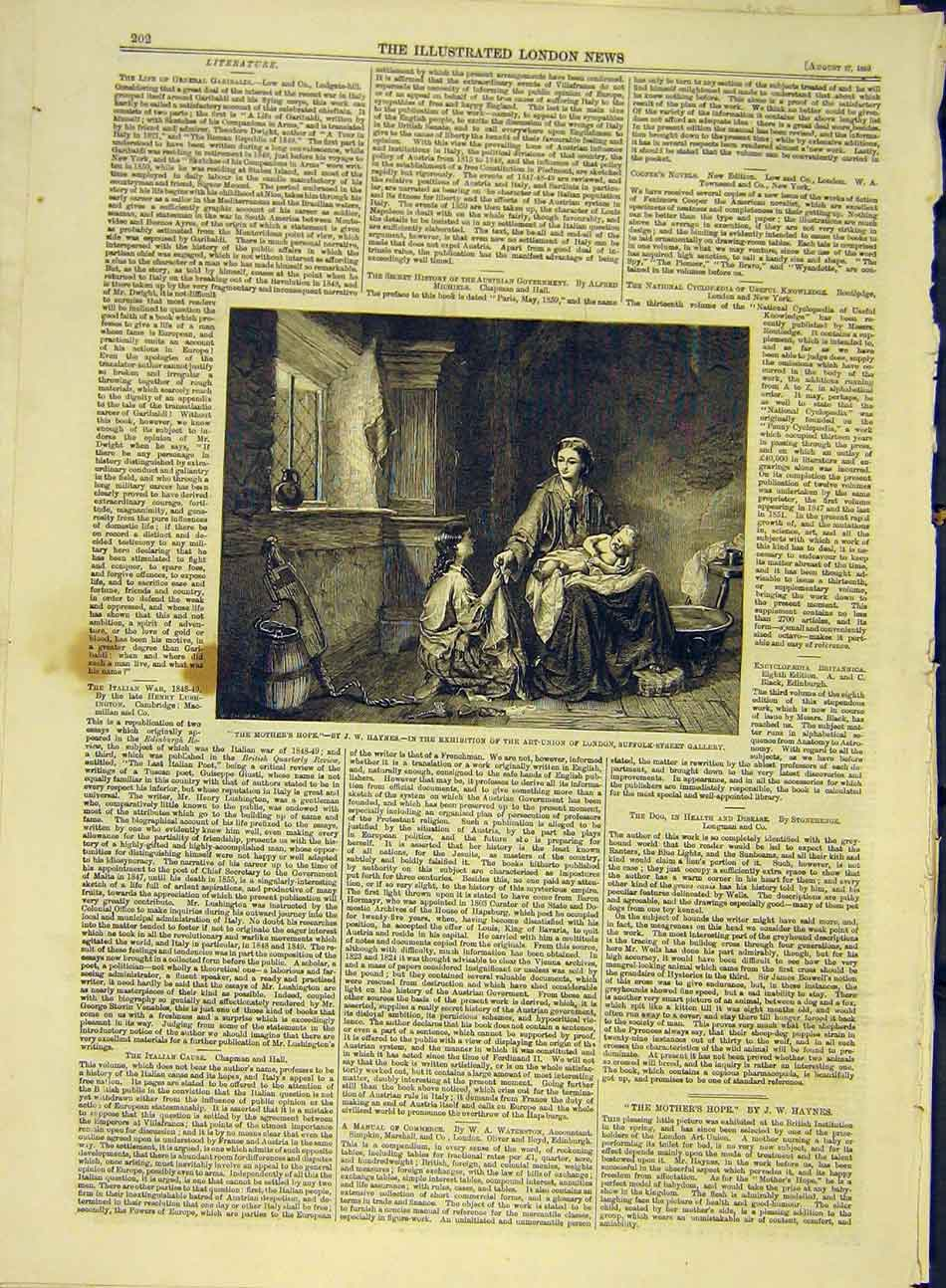 Print 1859 Mother'S-Hope Haynes Art-Union London 407991 Old Original