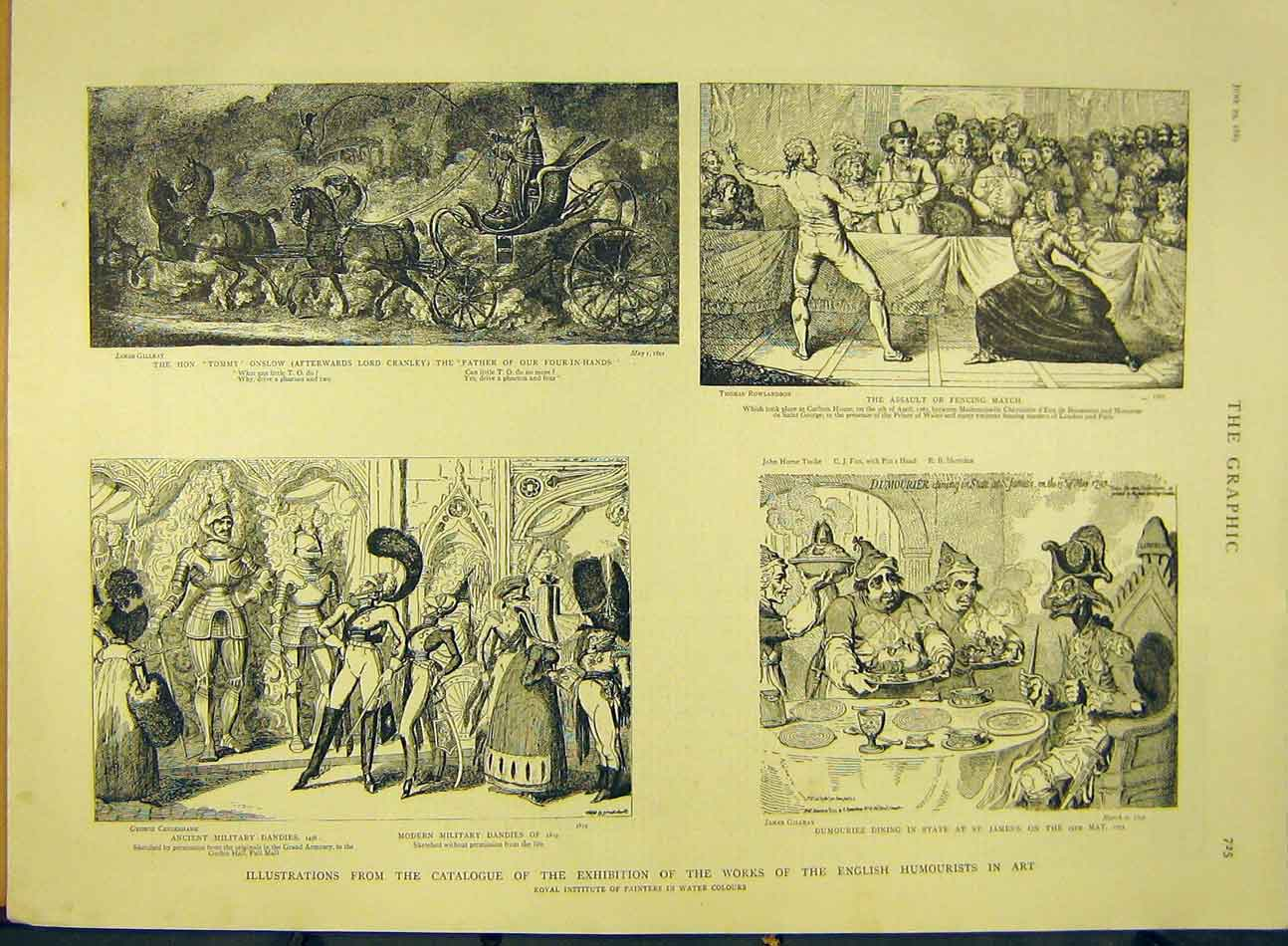 Print 1889 Sketch Catalogue Exhibition Humourist English Art 477991 Old Original