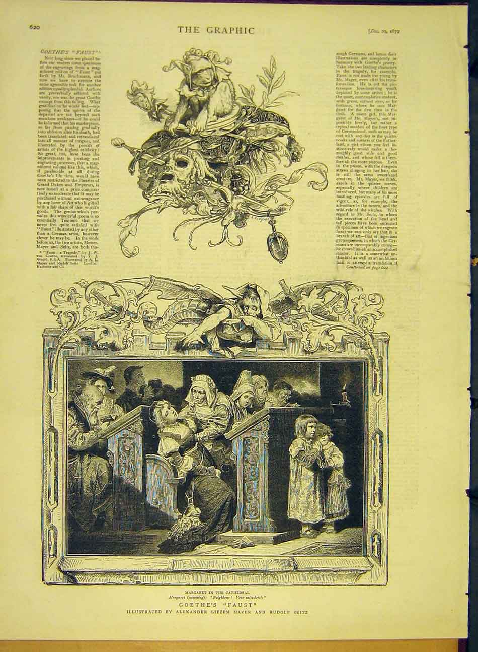 Print 1877 Goethe Faust Mayer Seitz Margaret Cathedral 487991 Old Original