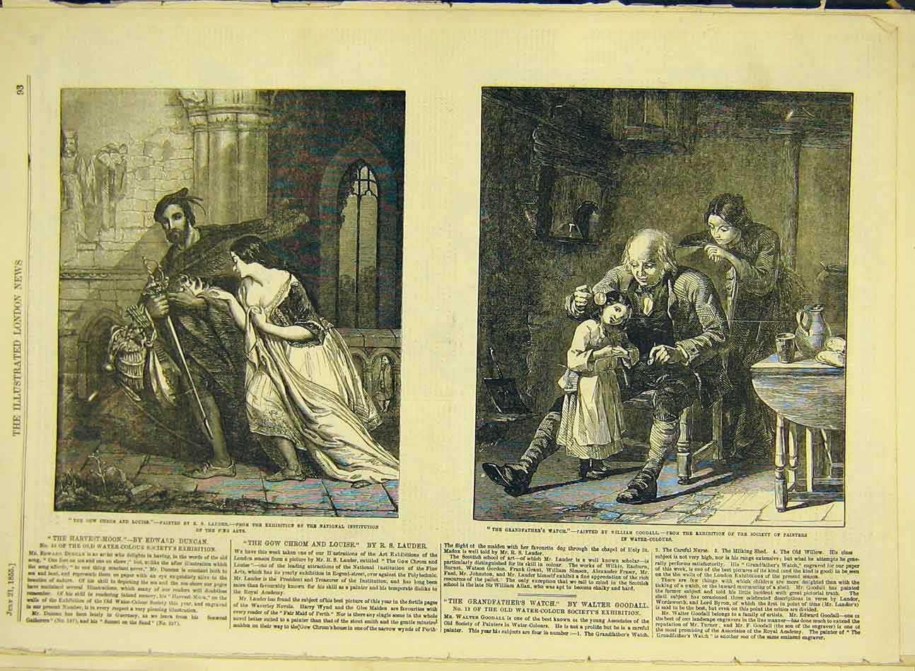 Print 1855 Lauder Gow-Chrom Grandfather'S-Watch Goodall Art 497991 Old Original