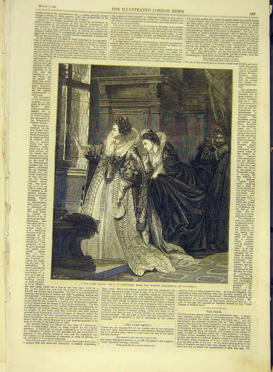 Print 1866 Curt-Reply Folingsby Fine Art Pall-Mall Exhibition 537991 Old Original